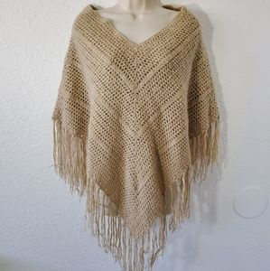 Arizona Knit Poncho Tan Size OS